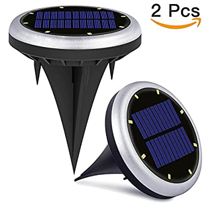 Solar Powered Ground Lights, 8 LED Solar Path Lights Outdoor Waterproof Garden Landscape Spike Lighting for Yard Driveway Lawn Pathway - White (2 Pack)