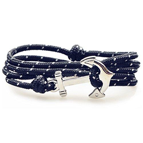 SWEETIE 8 Unisex Men's Women's Silver Nautical Anchor Nylon Rope Bracelet - Black White