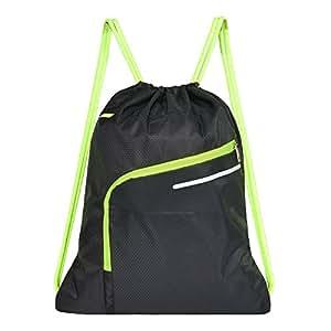 Saigain Gym Sack Large Drawstring Backpack Sport Bag Sackpack with Zipper for Men & Women,Black