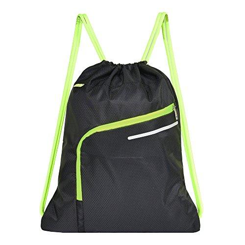 Saigain Men & Women Large Sport Gym Sack Drawstring Backpack Bag(Black,Grey,Mystic Grey,Stripe Static,Stripe Static Pink) (Black)