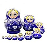 LK King&Light 10pcs beautiful Blue_White Russian Nesting Dolls Matryoshka Wooden Toys