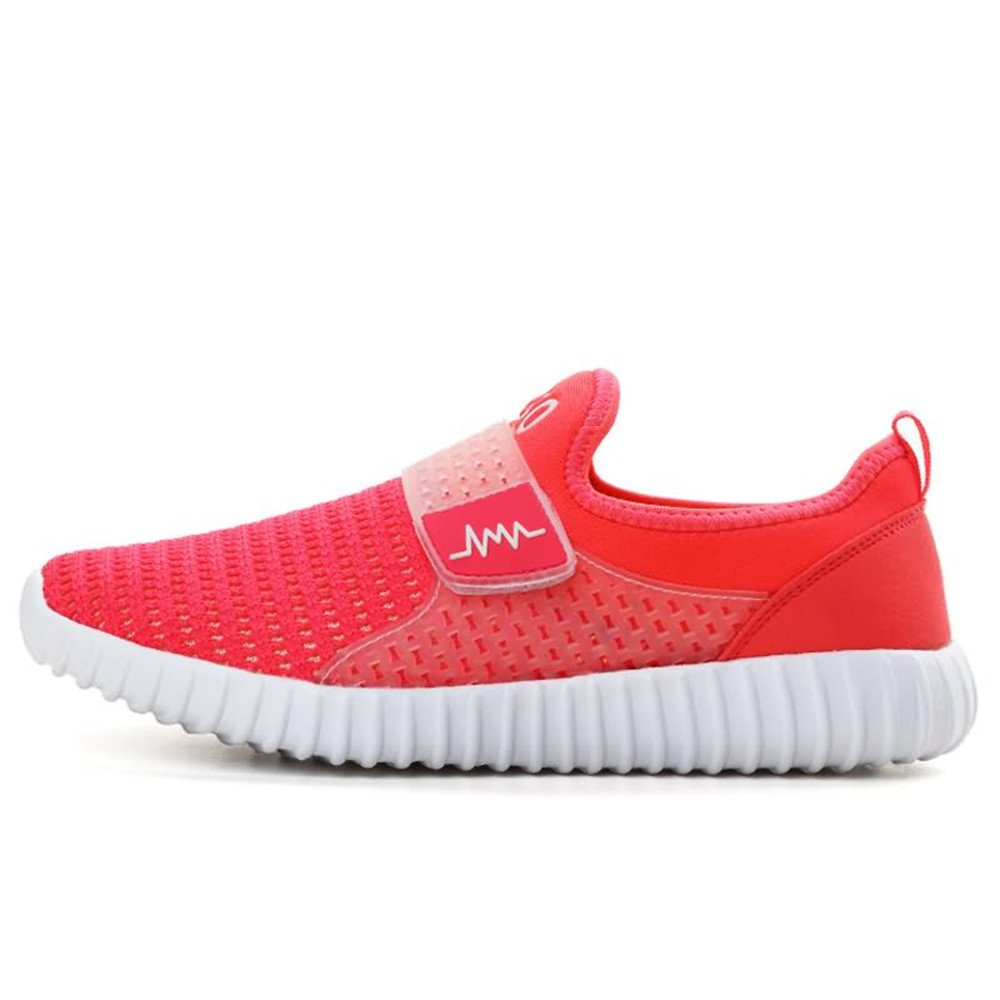 Hilotu Fashion Women's and Men's Flat Heel Mesh Fabric Athletic Shoes (Color : Orange Red, Size : 6 D(M) US)