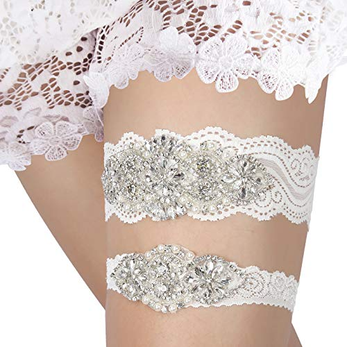 (HDE White Wedding Garter Set 1 Keepsake Garter 1 Toss Garter)