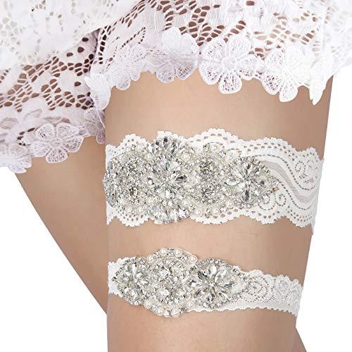 HDE White Wedding Garter Set 1 Keepsake Garter 1 Toss Garter -