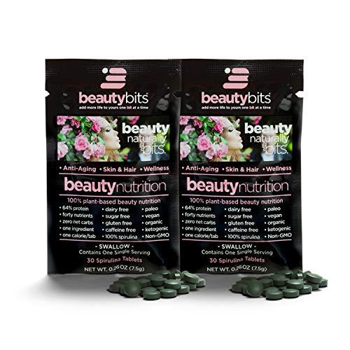 BEAUTYbits Pure Spirulina Tablets - Pack of 2 Single Servings (7500mg per Serving) - Non-GMO, Non-Irradiated, Raw, Blue Green Algae - Keto, Vegan Friendly