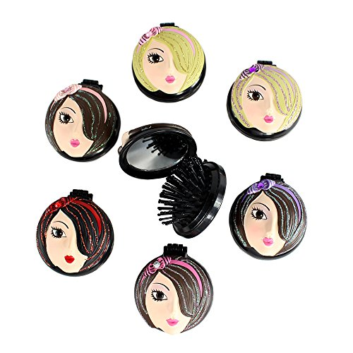 Wholesale Compact Mirror Set of 6 with Popup Brushes Pretty Girl - Custom Compact Mirrors