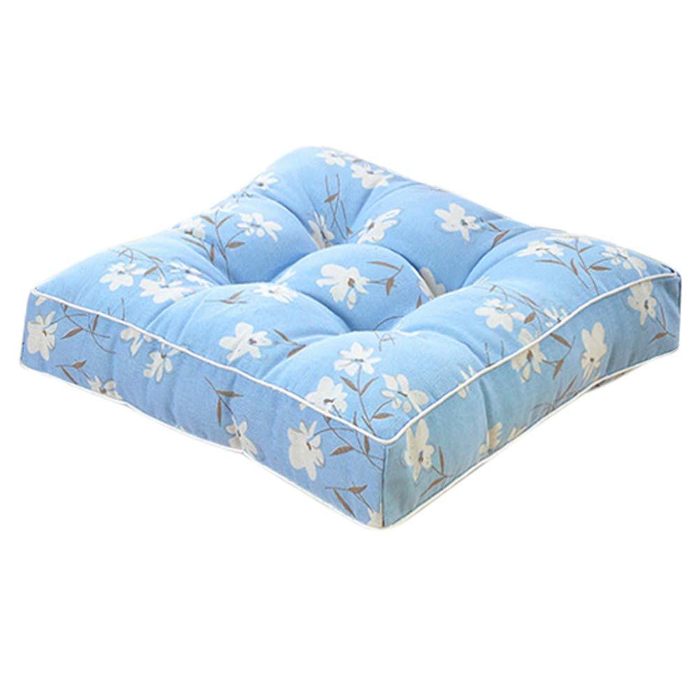 EONSHINE Luxury Square Polyester Filled Indoor Outdoor Chair Pad Cushion for Home Office Dinning Chair, Set of 1 16 by 16 inches, 100 Cotton Canvas Fabric Blue Flower