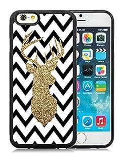Individualization iPhone 6 Case,Chevron Christmas Deer Black iPhone 6 4.7 Inch TPU Case 4
