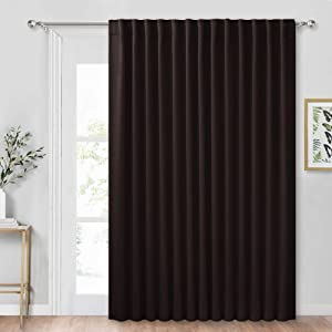 RYB HOME Vertical Blind for Corridor High Ceiling Window, Back Tab & Rod Pocket Hanging Options, Extra Wide Curtain for Living Room Office Slider Door, Wide 100 in x Long 84 in, Brown