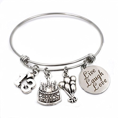 Old Jewelry (Stainless Steel Expandable Wire Bangle 13th Birthday Gifts Bracelet Live Laugh Love Jewelry for 13 Year Old Girls)