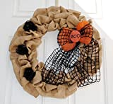 """Halloween Wreath! Created with Natural Burlap Ribbon and embellished with a bow and hand painted wooden """"Boo"""" sign! Rustic burlap wreath to decorate your house with! This burlap wreath features a bow created from Wired Black Jute Net and Oran..."""
