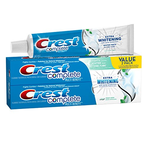 Crest Complete Multi-Benefit Extra Whitening Tartar Protection Clean Mint Flavor Toothpaste Twin Pack 12.4 Oz, Pack of 3 (6 Tubes (Clean Toothpaste)