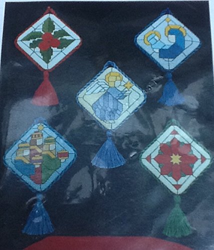 Stained Glass Jewels - 5 Counted Cross Stitch Christmas Ornament Patterns - #104