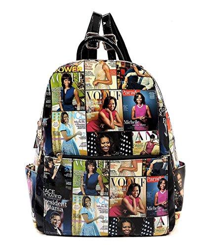 multi Fashion Cover Black Michelle Obama Glossy Backpack Handbag Magazine Backpack 8 Collage Hvcqc6UTw