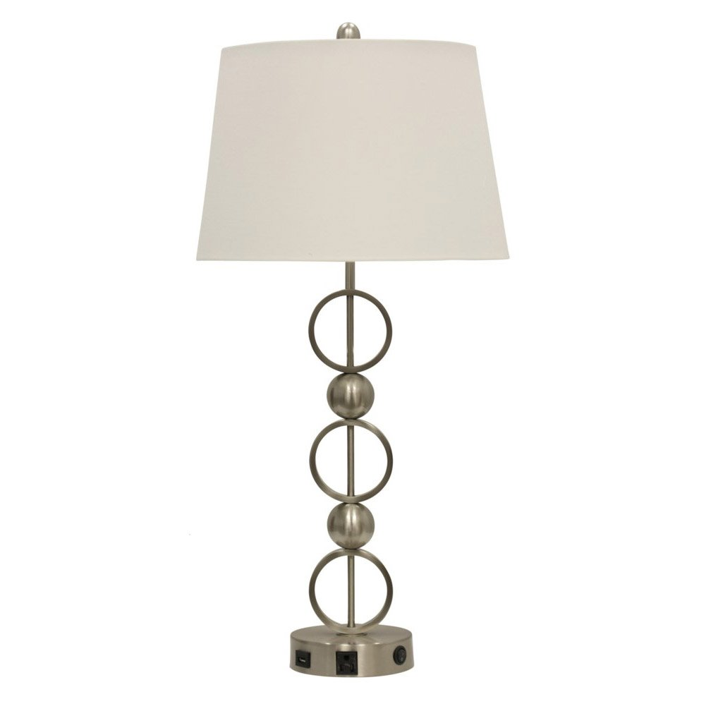 Abode 84 Brushed Steel Metal Table Lamp With Outlet, USB