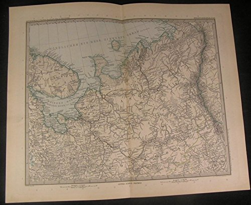 North Central Russia White Sea Ural Mountains 1899 antique engraved map ()