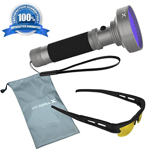 Powerful Black Light, 100 LED UV Flashlight Detects Bedbugs, Mold, Pet Urine, Scorpions, Insects, UV Leak, Diamonds and More. Includes Free UV Optics X Safety Glasses and Camping Carry Bag