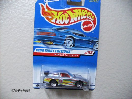 Hot Wheels Porsche 911 Gt3 Cup Silver W/black Wing 1999 First Editions #10 (Cup Gt3 Porsche)