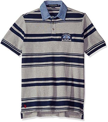 Bar Stripe Polo (U.S. Polo Assn. Men's Bar Code Stripe Pique Polo Shirt With Chambray Collar, Heather Grey, XX-Large)