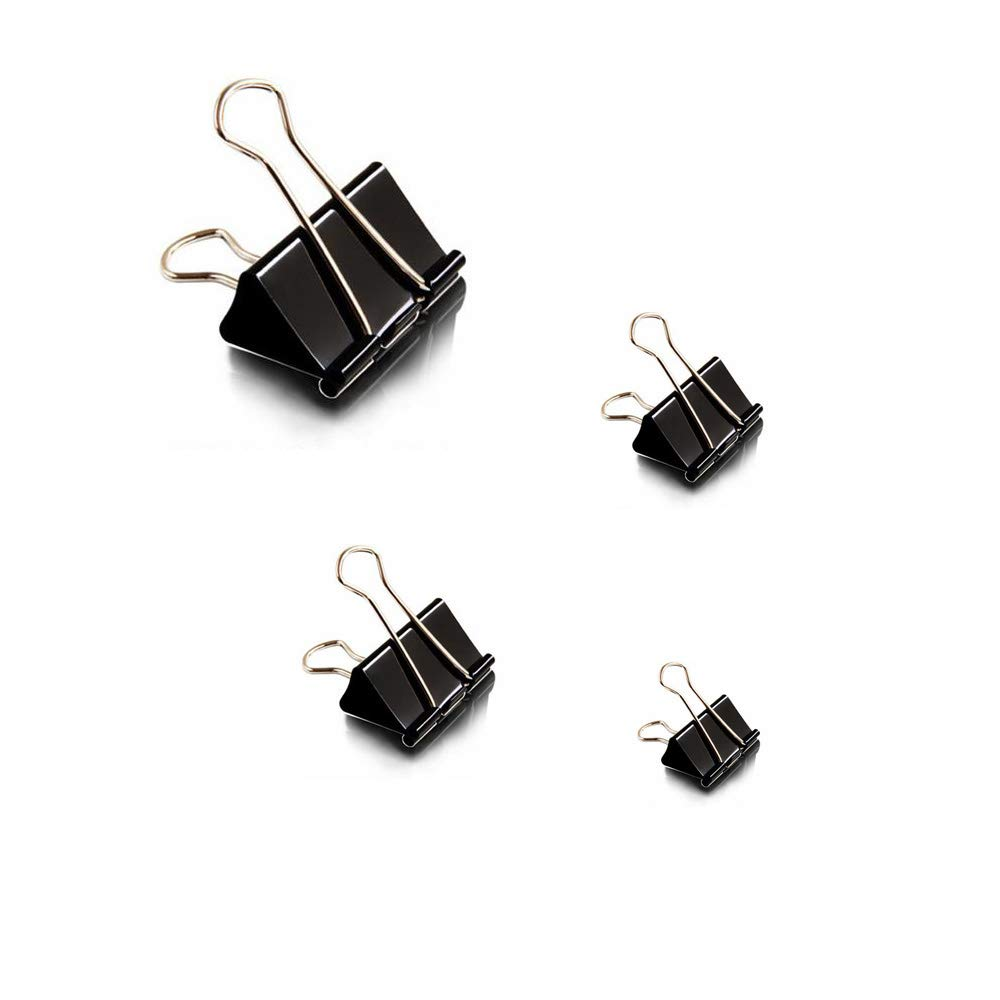 YEJI 50 PCS Black Binder Clips Paper Clamp Paper binder Assorted Sizes for office, home using, school using, especially for students, teachers to bind their documents