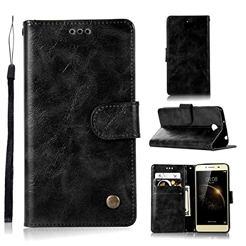 (TOTOOSE Huawei Y3 II Flip Cover, Case, Premium Card Slot [Stand Feature] Leather Wallet Case Vintage Book Style Magnetic Protective Cover Holder for Huawei Y3 II - Black)
