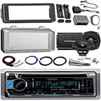 Harley Audio Package Of Kenwood KMR-D365BT Bluetooth CD MP3 Stereo Receiver Bundle Combo With Dash Trim Kit + Radio Cover + 2x 5.25 Speaker + 2 Channel Amplifier W/ Install Kit + HandleBar Conroller