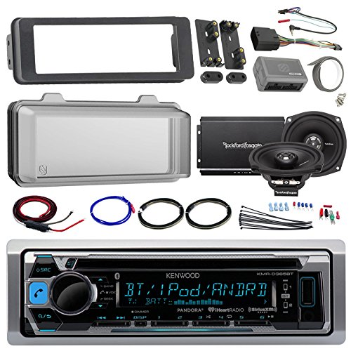 Harley Audio Package Of Kenwood KMR-D365BT Bluetooth CD MP3 Stereo Receiver Bundle Combo With Dash Trim Kit + Radio Cover + 2x 5.25