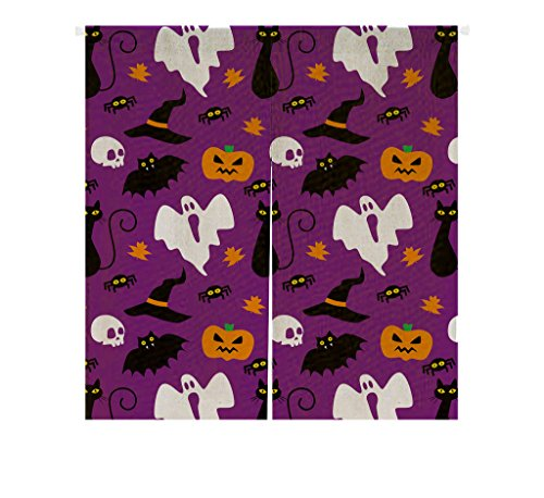Custom Funny Hallowen Time Ghost Pumpkin Halloween Window Door Cover Curtain, Home Decoration Cotton and linen Hanging Curtain Size 85x90 CM ()