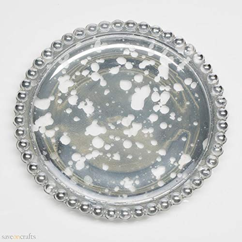 Silver Beaded Mercury Pillar Plates Set of 48 - Excellent Home Decor - Indoor & Outdoor