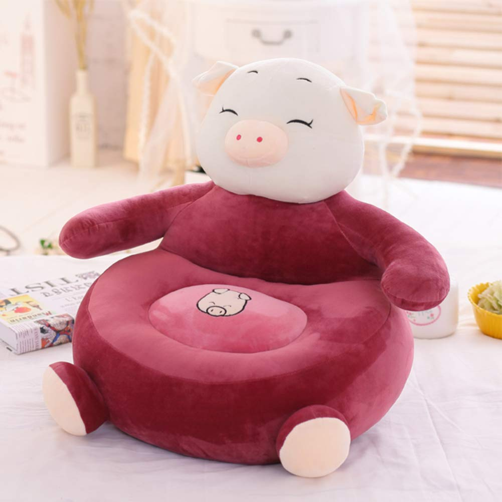 WAYERTY Pig Children's Armchair, Children Sofa Cute Plush Toy Bean Bag Kid Chair Seat Animal Soft Couch Cartoon Tatami Birthday Gifts-Red Wine W55xH50cm(22x20inch)