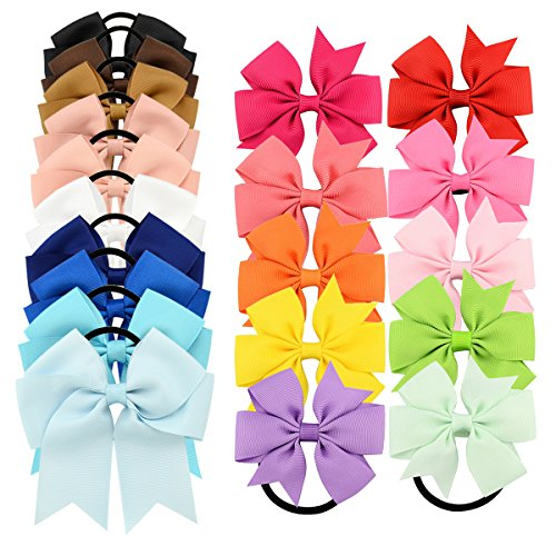 "Price comparison product image YOY 20 Pcs Fashion Baby Girls Boutique Hair Ties Ponytail Holders - Stretchy Elastic Ropes Rubber Bands Hair Accessories Set with Grosgrain Ribbon Bows 4.5"" and 3"" for Toddlers Teens Kids"