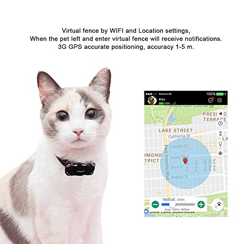 PABY Pet Tracker, 3G GPS Pet Tracker & Activity Monitor Dogs Cats Smart WIFI Virtual Fence Rechargeable Waterproof Tracker Pet Safe Wireless Fence Pet Finder Android/iPhone by PABY (Image #4)