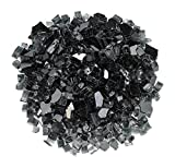 American Fireglass 1/2'' Black Reflective Fire Glass, 55 lb. Bag