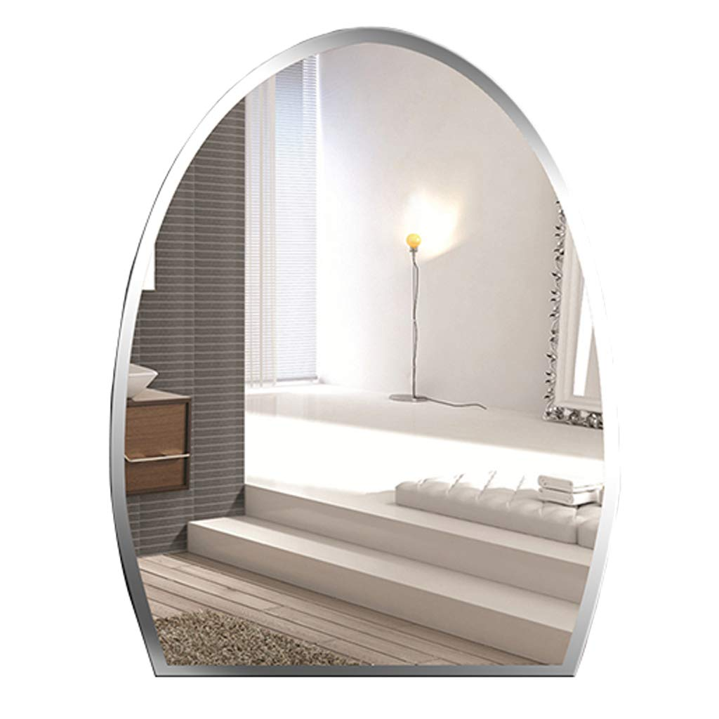 Large Modern Wall Mirror Frameless Contemporary Premium Silver Backed Floating Glass Panel Makeup Vanity Mirror - Oval Shape(45x60cm 17.7″x23.6″)