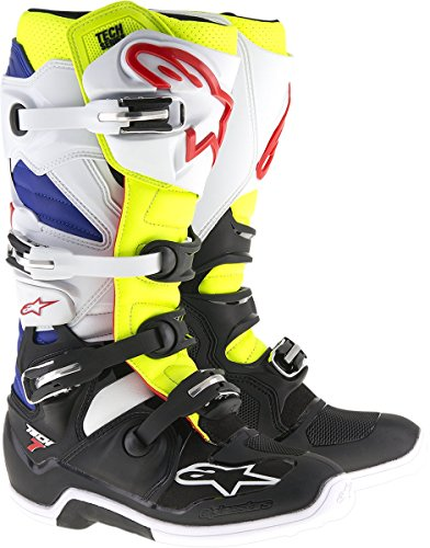 Alpinestars Men's Tech 7 Boots (White/Yellow/Blue, Size 10)