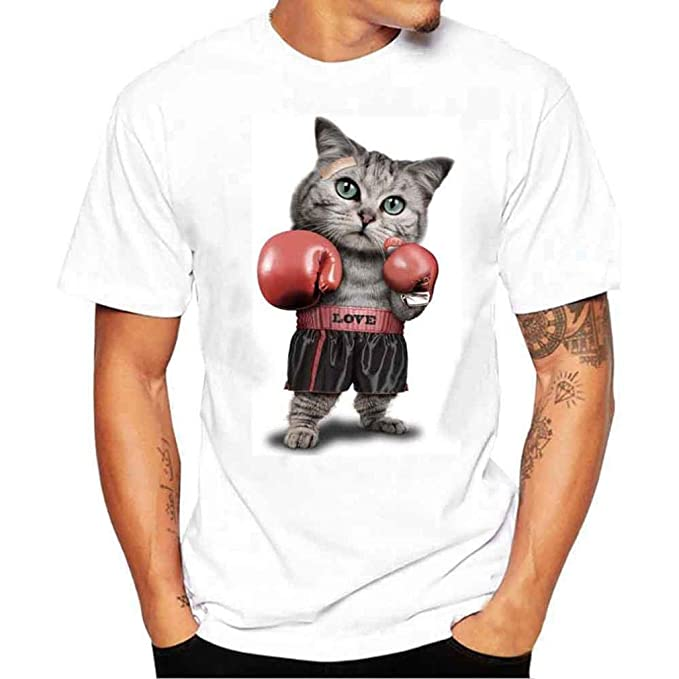 Blusas Hombres Manga Corta,O-Cuello Gato Boxeo Camiseta De La Impresión Moda Diario