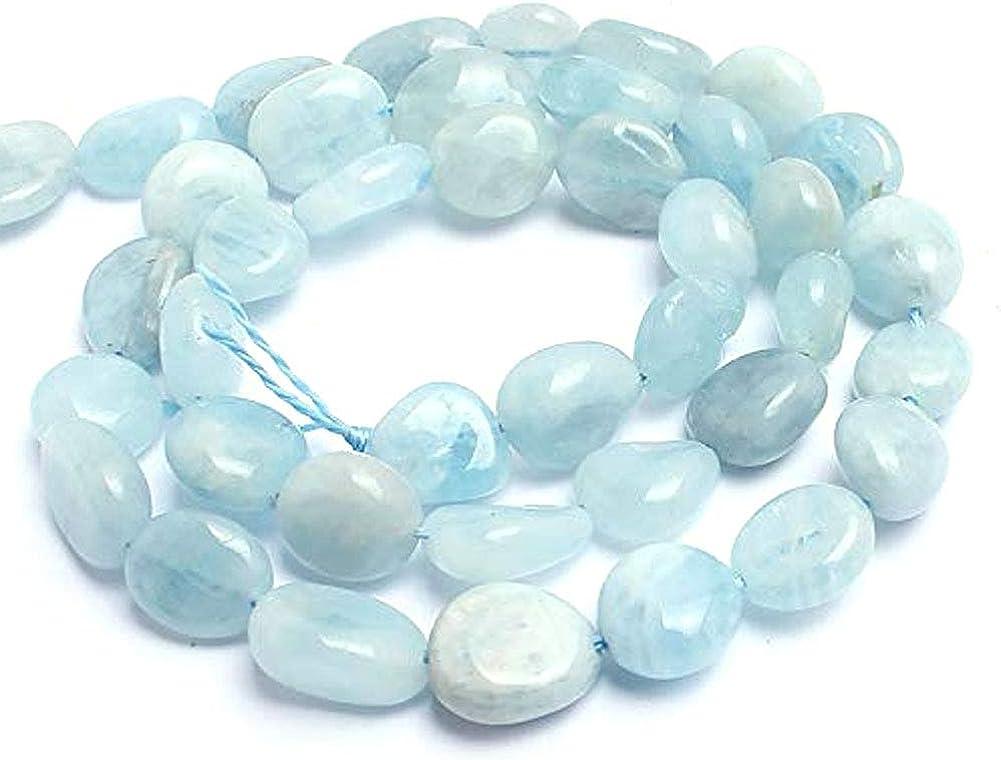 Cuentas de piedras naturales irregulares -10 mm bolas de piedra aguamarina Para Hacer 15inches collar de la pulsera