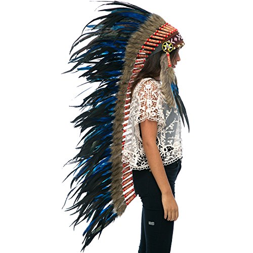 Extra Long Feather Headdress- Native American Indian Inspired- Dark Blue Rooster