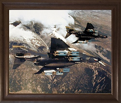 Impact Posters Gallery Framed Wall Decor F-4E Phantom with Missiles Military Jet Vintage Aviation Aircraft Brown Rust Art Print Picture ()