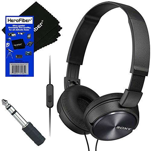 Sony Wired On-Ear Foldable Stereo Headphones with Microphone MDR-ZX310AP (Black) + 3.5mm Mini Plug to 1/4 inch Headphone…