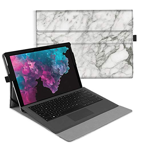 Fintie Case for Microsoft Surface Pro 6 / Pro 5 / Pro 4 / Pro 3 - Multiple Angle Viewing Portfolio Business Cover, Compatible with Type Cover Keyboard (Marble)
