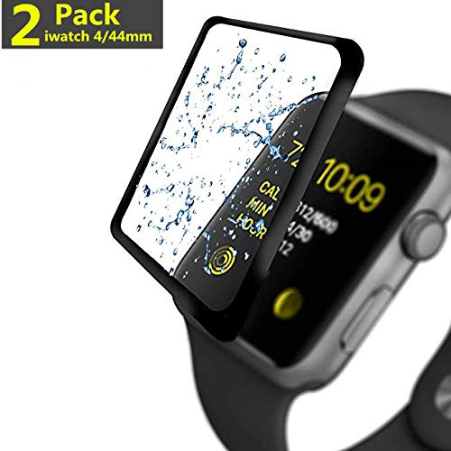 [2-Pack] Apple Watch serie 4 44MM Screen Protector, Huaiun [9H Hardness] [Anti-Scratches] [Anti-Fingerprint] Tempered Glass Screen Protector Film Compatible Watch serie 4 44MM [Black]