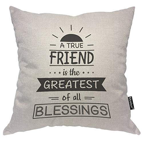Moslion Quote Pillows A True Friend is The Greatest of All Blessings Sunlight Word Throw Pillow Cover Decorative Pillow Case Square Cushion Accent Cotton Linen Home 18x18 Inch