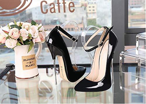 ZFAFA Damen Extrem Extrem Extrem Pumps Stiletto High Heels Hoch Absatz Riemchen Schnalle mit Pfennigabsatz Party Hochzeit Schuhe Tanzschuhe Brautschuhe, schwarz 540ace