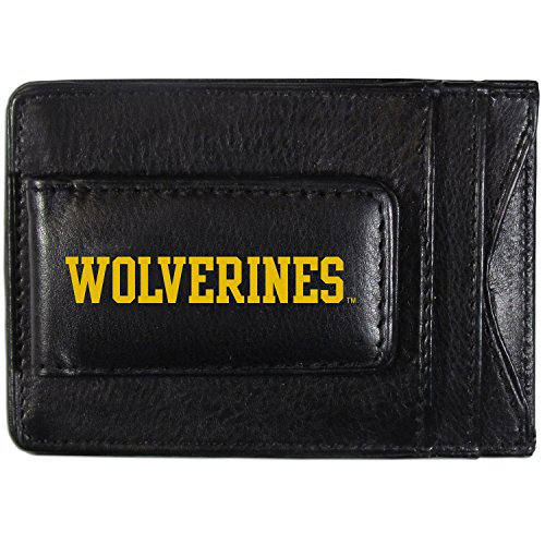 NCAA Michigan Wolverines Logo Leather Cash & Cardholder, Black