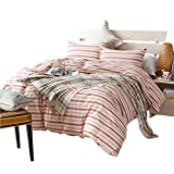 AMWAN Modern Pink Striped Twin Duvet Cover Set 100% Washed Cotton Kids Girls Bedding Cover Set Reversible Luxury Bedding Set Hotel Quality Children Bedding Collection 3 Piece Summer Quilt Cover Set