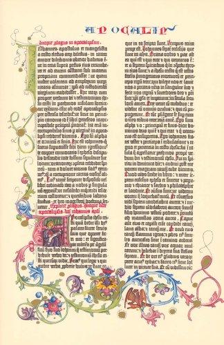 (Gutenberg Bible Revelation Illuminated Facsimile Leaf 1961)