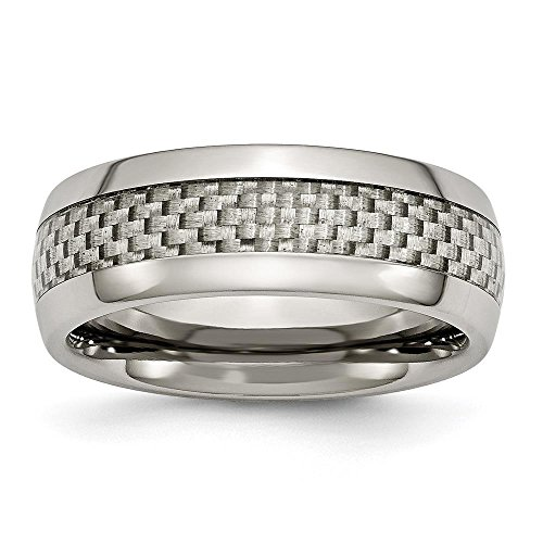 Titanium & Grey Carbon Fiber 8mm Polished Wedding Ring Band by Chisel Size 6 15