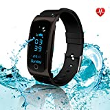 Fitness Tracker - LEKANG Activity Tracker with Wrist-Based Heart Rate Monitor - Water Resistant Smart Band with Step Tracker Sleep Monitor Calorie Counter Notification Alerts for Android iOS Smartphone