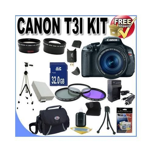 UPC 616932800412, Canon EOS Rebel T3i 18 MP CMOS Digital SLR Camera and DIGIC 4 Imaging with EF-S 18-55mm f/3.5-5.6 IS Lens +58mm 2x Telephoto lens + 58mm Wide Angle Lens (3 Lens Kit!!!!!!) W/32GB SDHC Memory+ Extra Battery/Charger + 3 Piece Filter Kit + Full Size Tripod + Case +Accessory Kit !